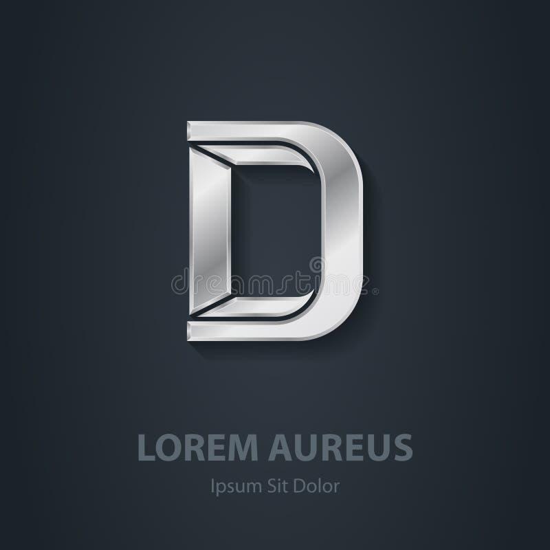 Письмо d Шрифт вектора элегантный серебряный Шаблон для логотипа компании бесплатная иллюстрация