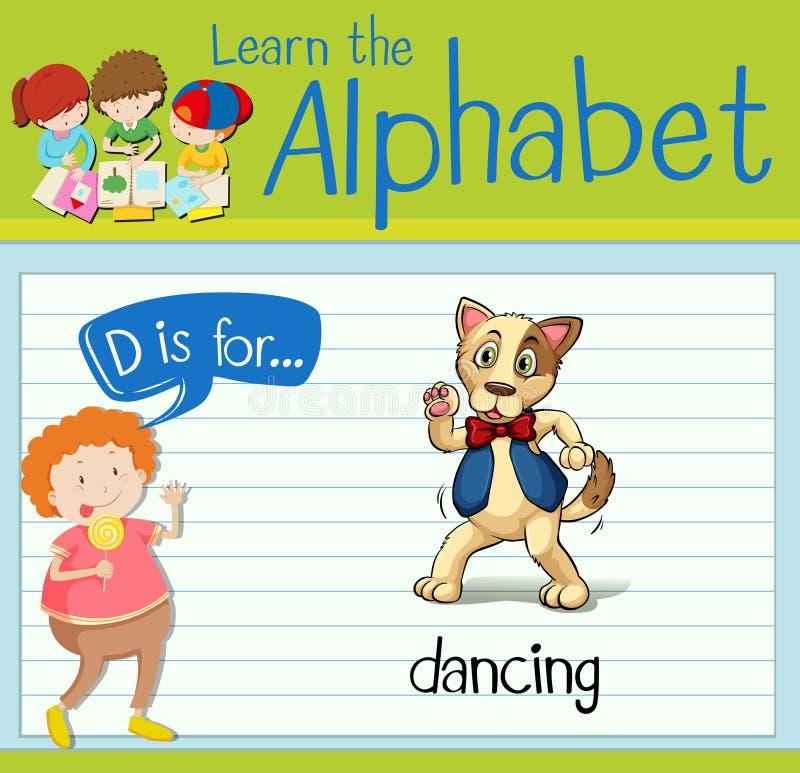 Письмо d Flashcard для танцевать бесплатная иллюстрация