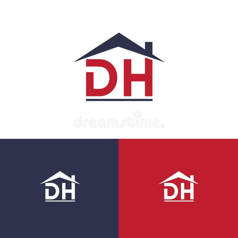 Письмо d h значка иллюстрации вектора и крыша иллюстрация вектора