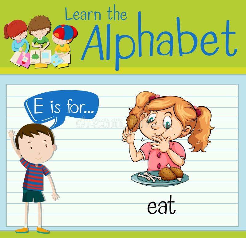 Письмо e Flashcard для ест иллюстрация вектора