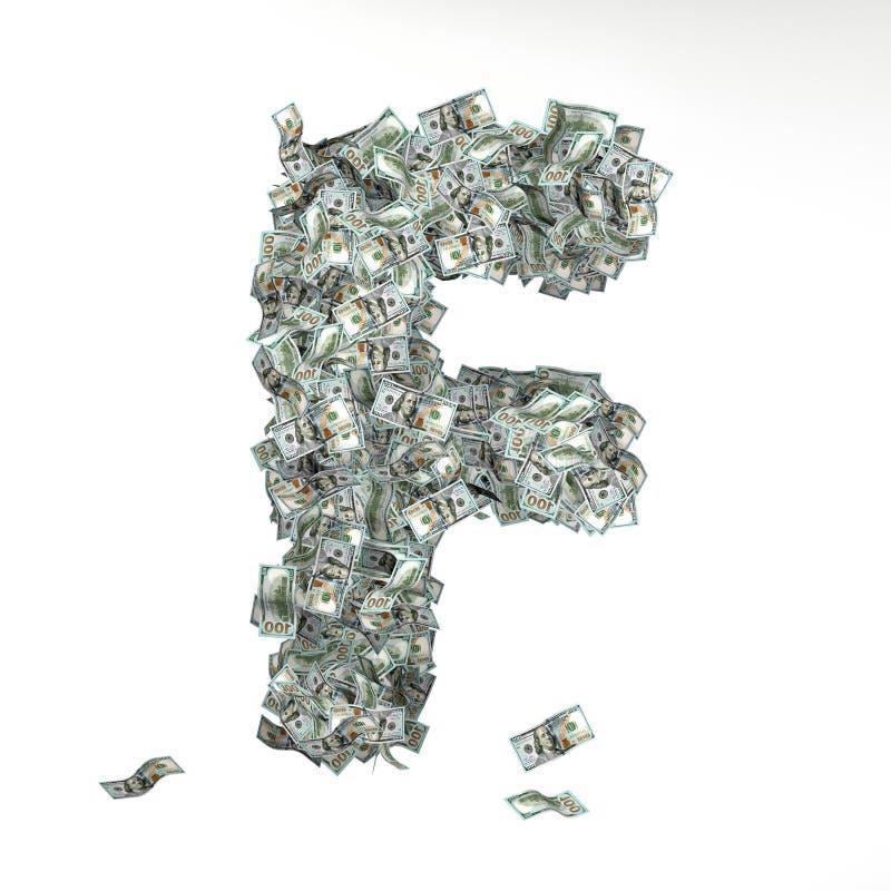 Письмо f сделало из 100 долларовых банкнот иллюстрация штока