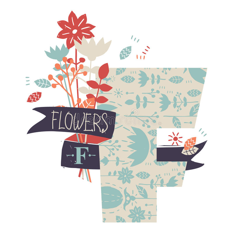 Письмо f с цветками бесплатная иллюстрация