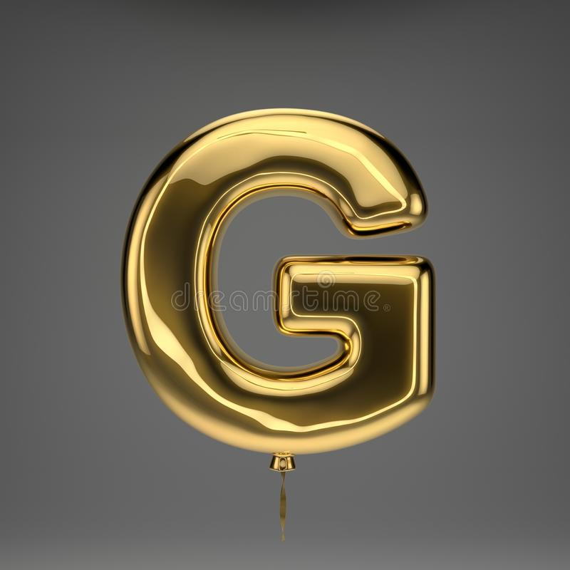 Письмо g золотого лоснистого воздушного шара uppercase изолированное на те бесплатная иллюстрация