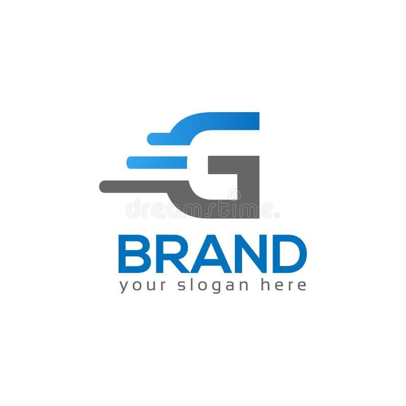 Письмо g на белой предпосылке логотип имеет впечатление быстрое и надежное иллюстрация вектора