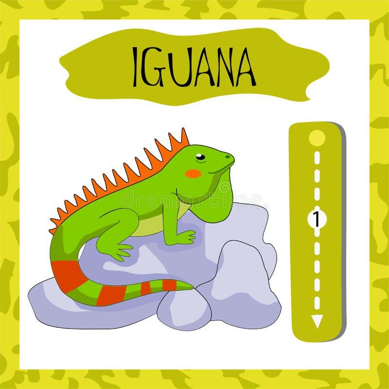 Письмо i английского алфавита для уча детей, который нужно прочитать иллюстрация штока