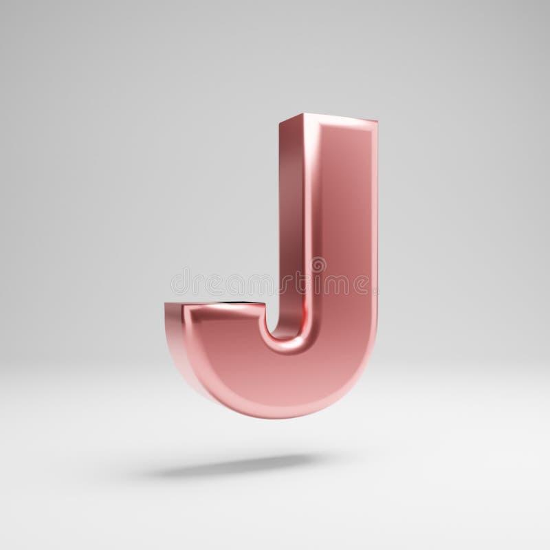 Письмо j объемного лоснистого розового золота uppercase изолированное на белой предпосылке бесплатная иллюстрация