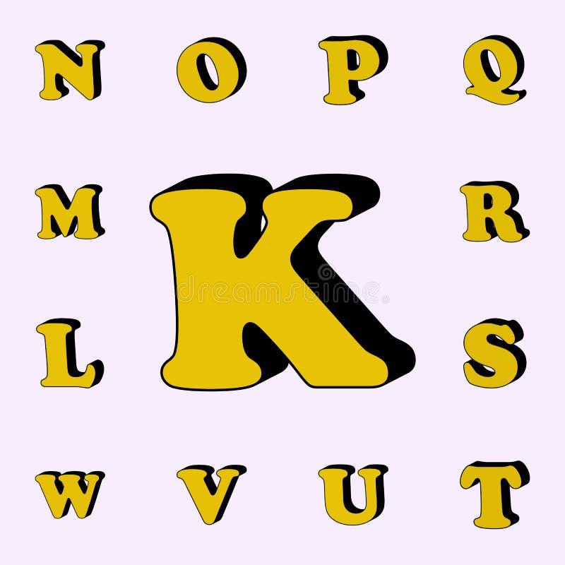 письмо k, алфавит, значок 3D набор значков слов 3D всеобщий для сети и черни иллюстрация вектора