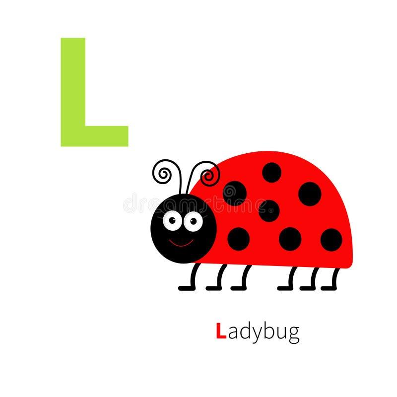 Письмо l алфавит зоопарка Ladybug Английский abc с карточками образования животных для дизайна белой предпосылки детей плоского иллюстрация штока
