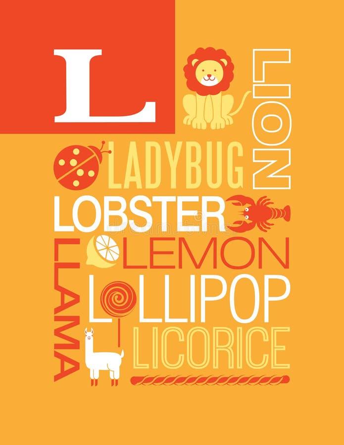 Письмо l дизайн плаката алфавита иллюстрации оформления слов иллюстрация вектора