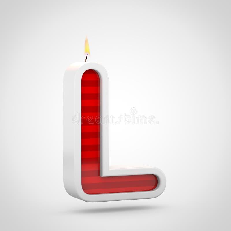 Письмо l uppercase свечи дня рождения изолированный на белой предпосылке иллюстрация штока