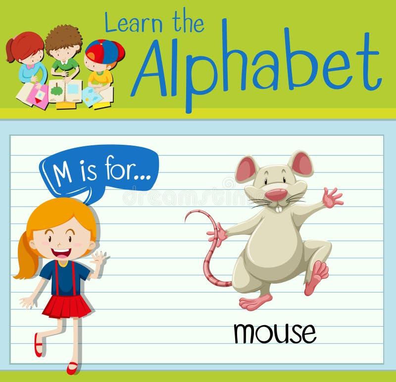 Письмо m Flashcard для мыши иллюстрация штока