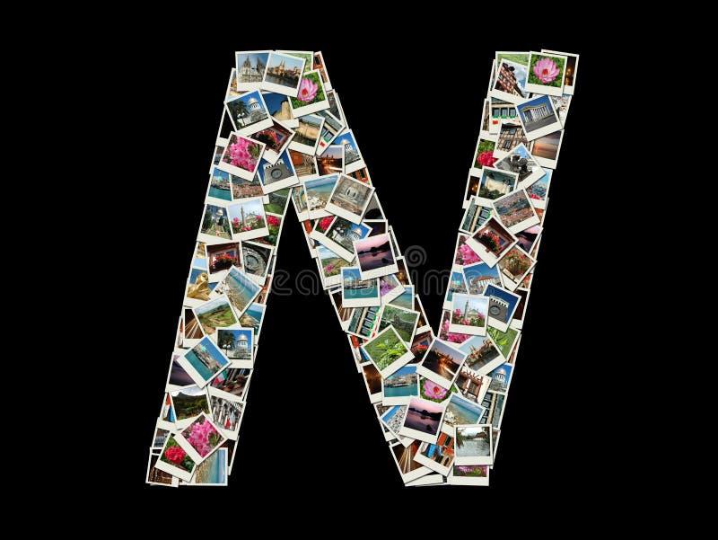 Письмо n - коллаж фото перемещения стоковые фотографии rf