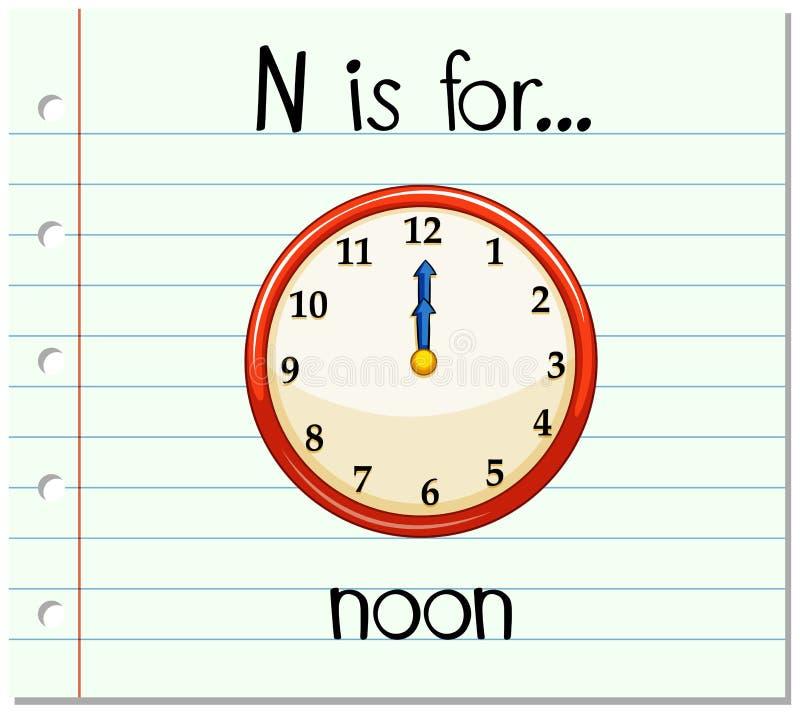 Письмо n Flashcard для полдня бесплатная иллюстрация