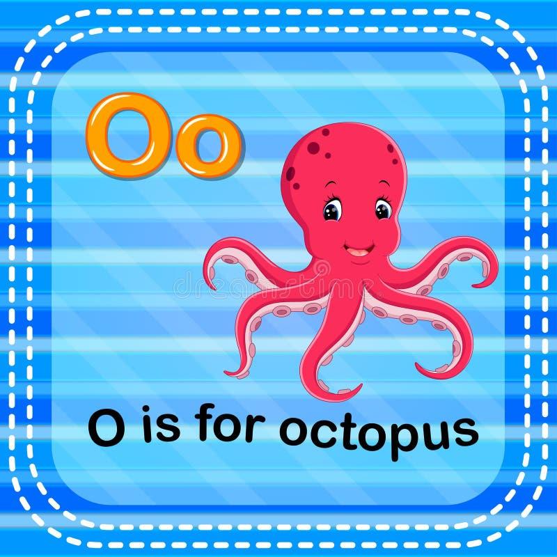 Письмо o Flashcard для осьминога иллюстрация вектора