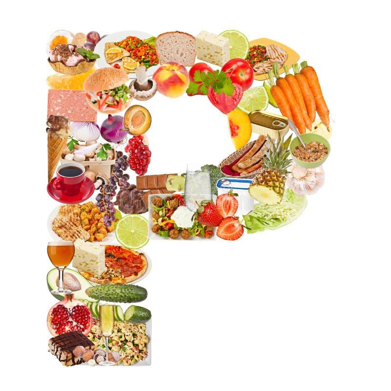 Письмо p сделанное из еды стоковая фотография rf