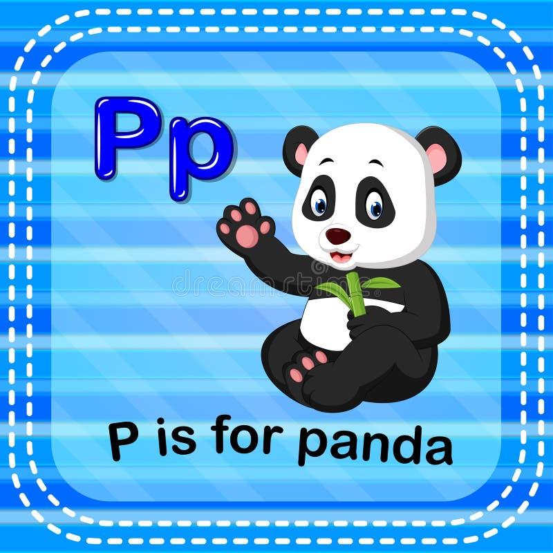 Письмо p Flashcard для панды иллюстрация вектора
