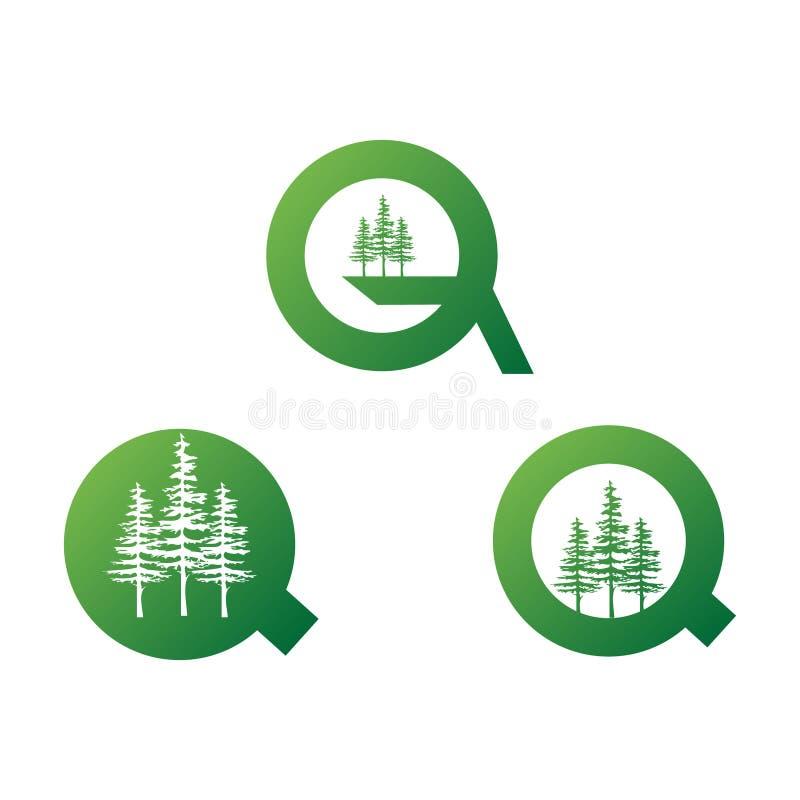 Письмо q иллюстрации современное и набор зеленого цвета 3 сосен иллюстрация штока