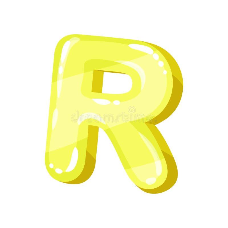 Письмо r желтое лоснистое яркое английское, иллюстрация вектора шрифта детей на белой предпосылке иллюстрация вектора