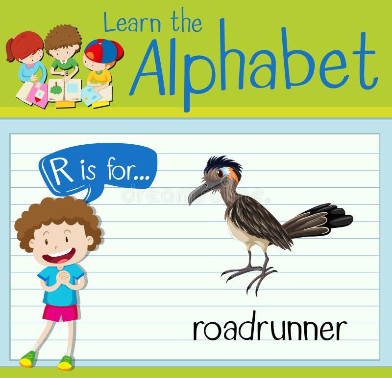 Письмо r Flashcard для roadrunner иллюстрация вектора