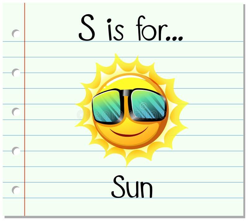 Письмо s Flashcard для солнца иллюстрация штока