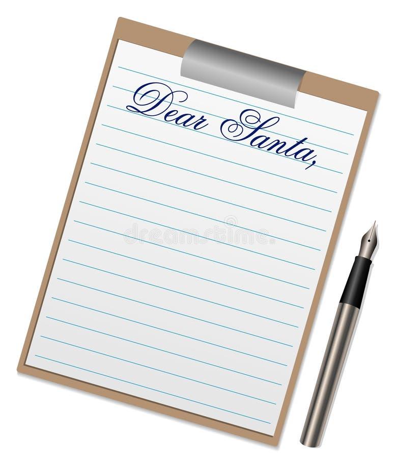 письмо santa иллюстрации claus к иллюстрация штока