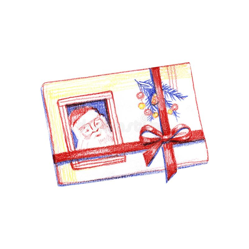 письмо santa claus к Иллюстрация карандаша акварели на белой предпосылке иллюстрация вектора