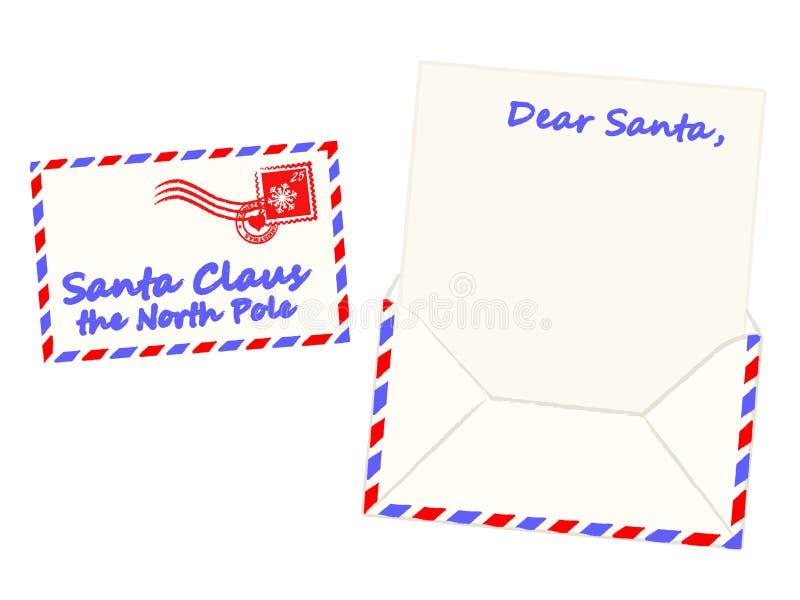 письмо santa claus рождества, котор нужно vector иллюстрация вектора