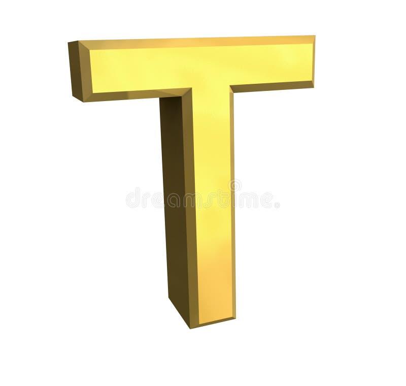 письмо t золота 3d иллюстрация вектора