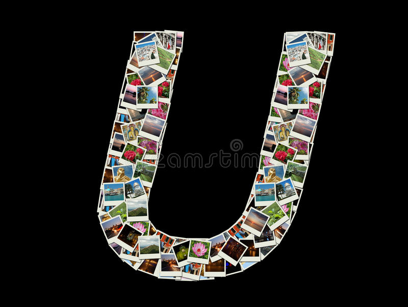 Письмо u - коллаж фото перемещения стоковые фотографии rf