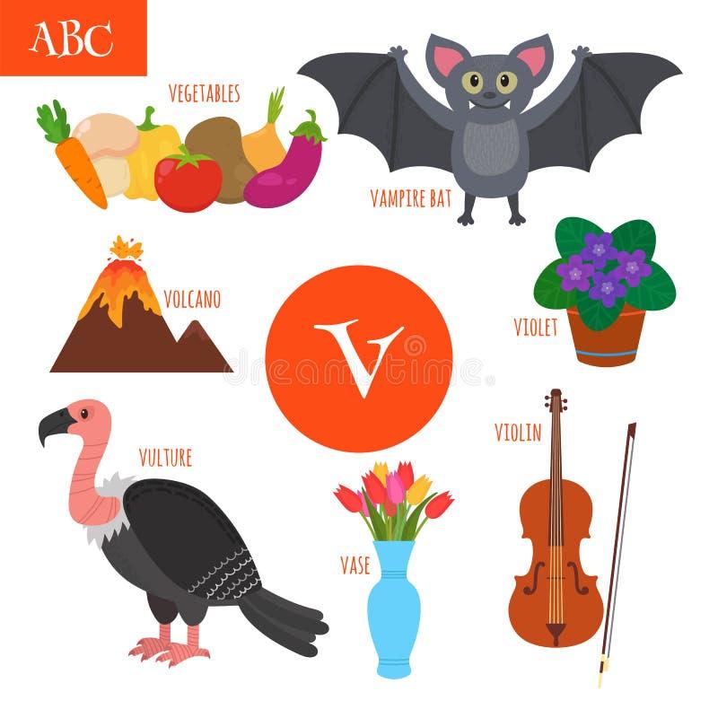 письмо v Алфавит шаржа для детей Скрипка, хищник, vegeta иллюстрация вектора