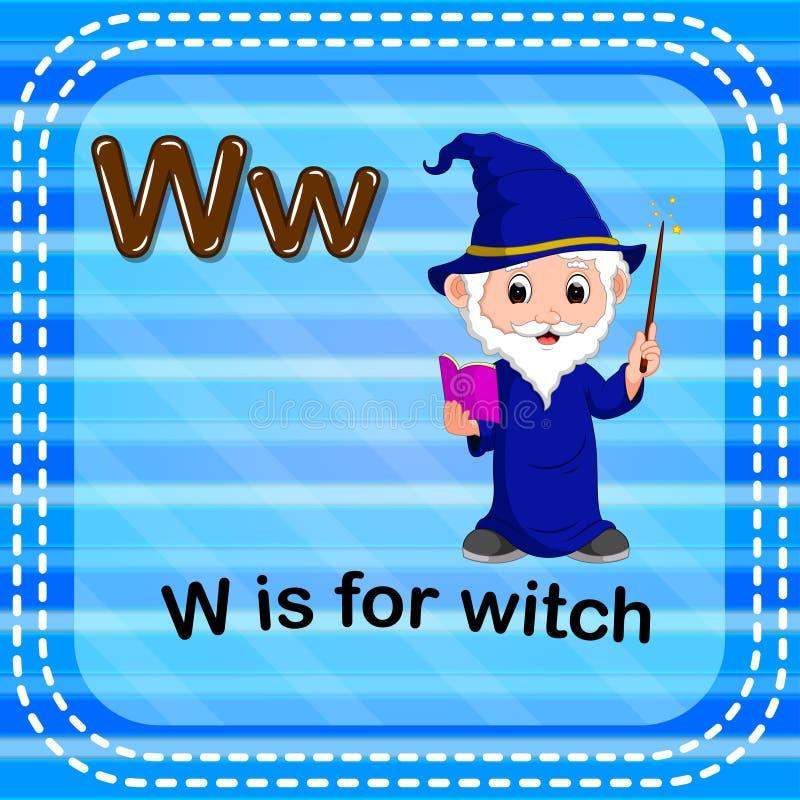 Письмо w Flashcard для ведьмы иллюстрация штока