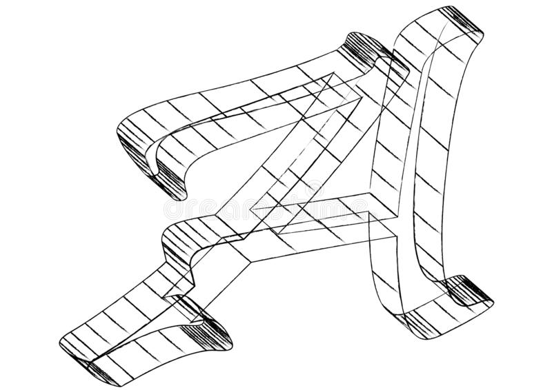 Письмо wireframed логотип изолированный на белой предпосылке бесплатная иллюстрация
