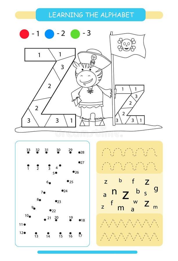 Письмо z и смешная зебра мультфильма E Крася страница Printable рабочее лист Практика почерка Соедините точки иллюстрация штока