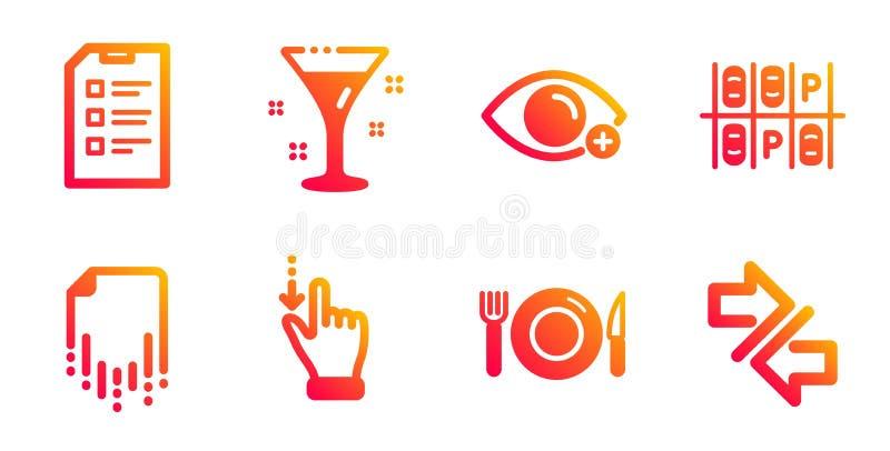 Питание, дальновидность и место парковки - иконы Файл восстановления, сигнальные знаки 'Cocktail' и 'Checklist' Вектор бесплатная иллюстрация