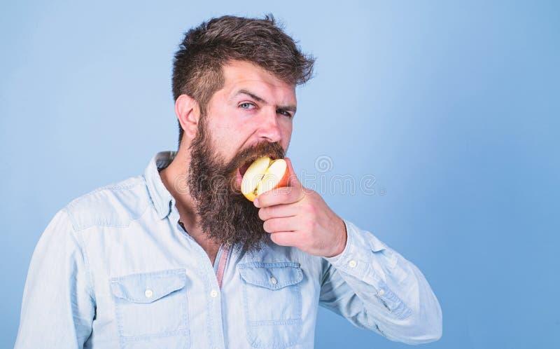 Питание диеты человека ест плод Здоровая концепция питания Хипстер человека красивый с длинной бородой есть яблоко Хипстер стоковое изображение
