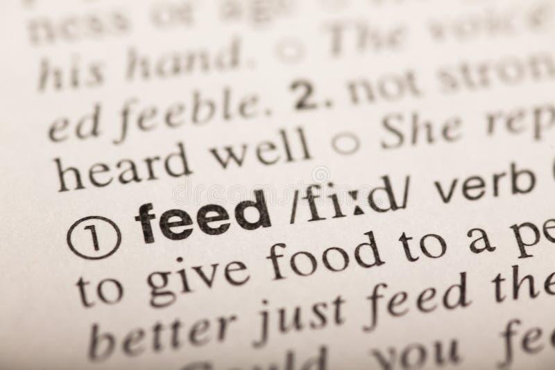 Питание - слово в словаре стоковая фотография
