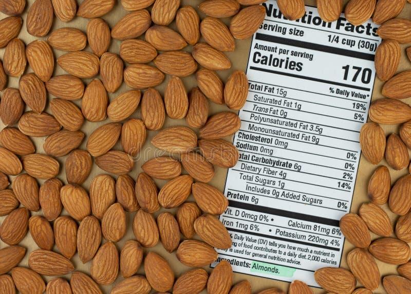 Питательные факты миндаля Ингридиент кетогенной диеты стоковое изображение