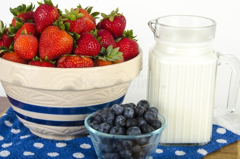 Питательный завтрак плодоовощ и молока стоковая фотография