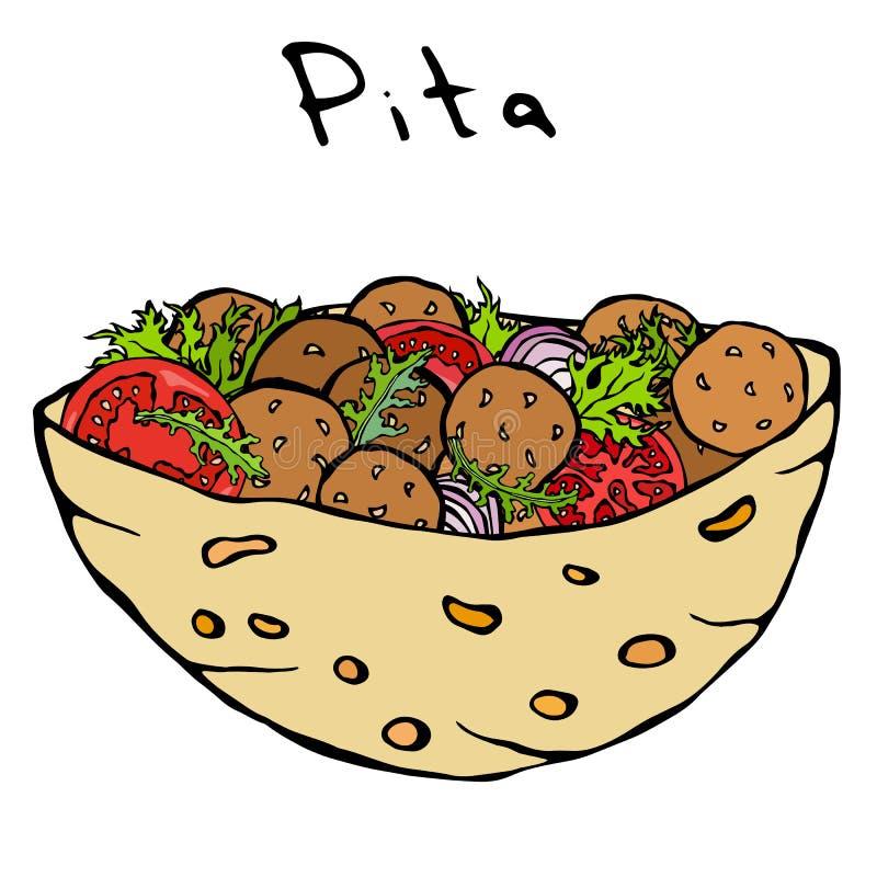 Пита Falafel или салат фрикадельки в карманном хлебе Арабская хлебопекарня фаст-фуда Израиля здоровая Еврейская еда улицы реалист иллюстрация штока