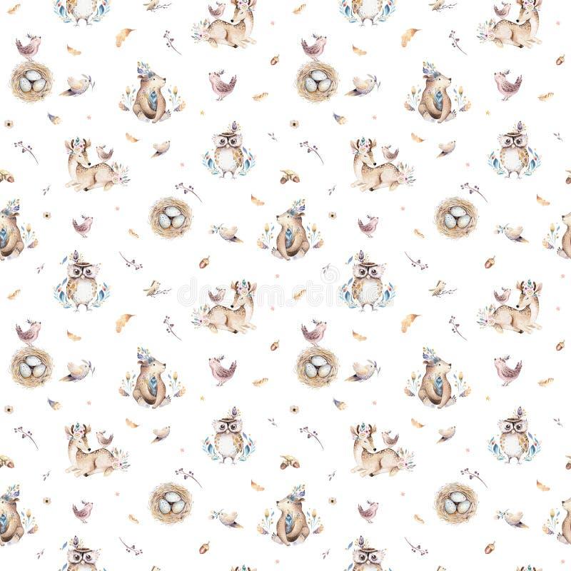 Питомник животных младенца изолировал безшовную картину с bannies Лиса младенца boho акварели милая, кролик полесья оленей животн стоковые изображения rf