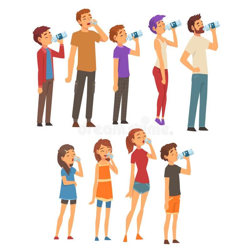 Питьевая вода людей от пластиковых бутылок и стекел установила, люди, женщины и дети наслаждаясь выпивать свежая чистой иллюстрация вектора