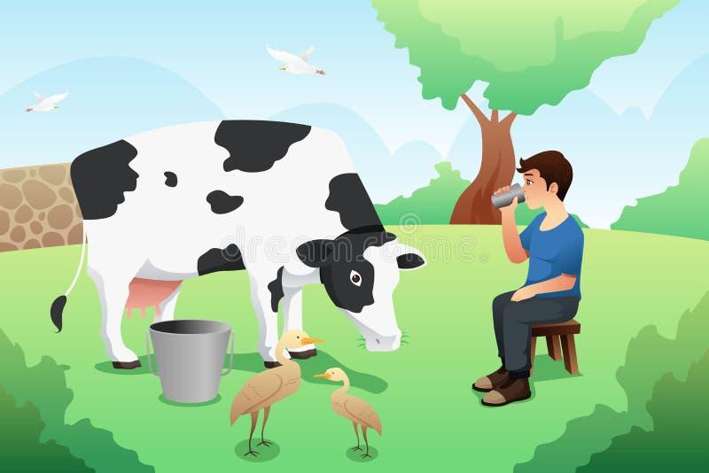 Питьевое молоко мальчика после доить иллюстрацию коровы иллюстрация вектора