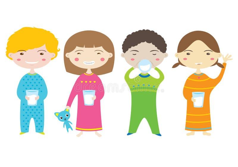 Питьевое молоко детей. иллюстрация вектора