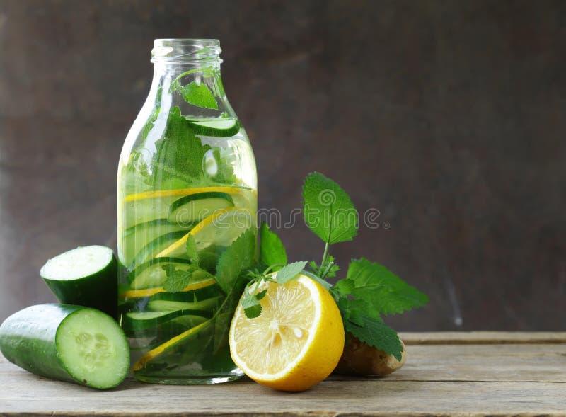 Питье вытрезвителя с свежими огурцом, лимоном и имбирем стоковая фотография