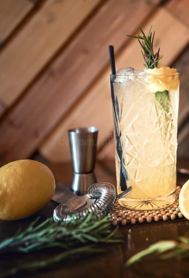 Питье коктеиля джина тоническое в пабе, ресторане или ночном клубе Холод коктеиля освежения служат питьем, который стоковые фото