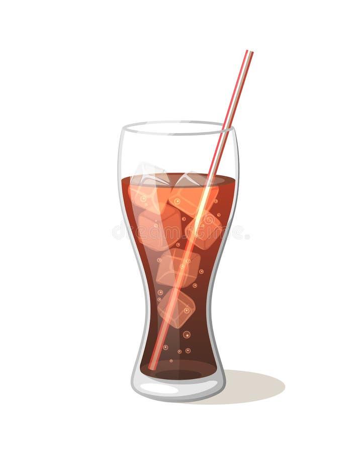 Питье колы в стеклянной чашке с льдом с ручками Vector иллюстрация иллюстрация штока