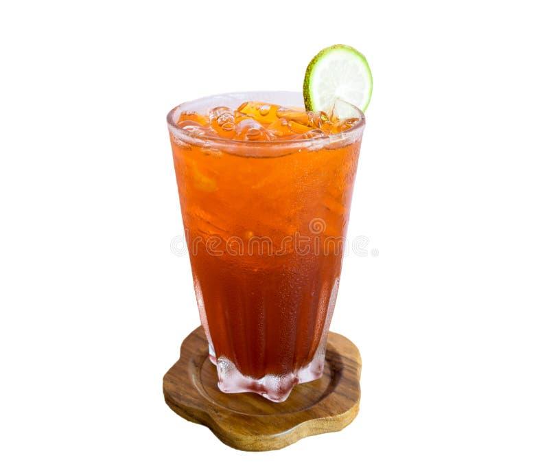 Питье стеклянного чая лимона льда античное стоковая фотография rf