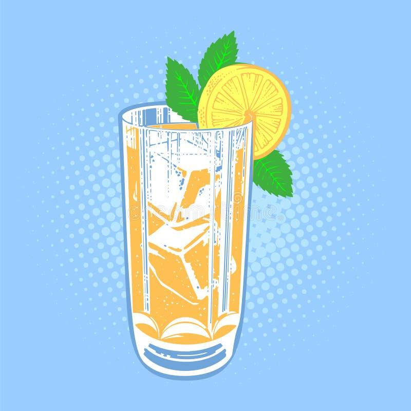 Питье с известкой, мятой и льдом иллюстрация вектора