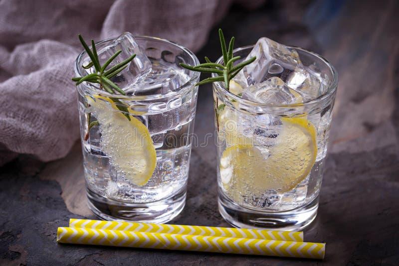 Питье с лимоном и розмариновым маслом стоковые фотографии rf