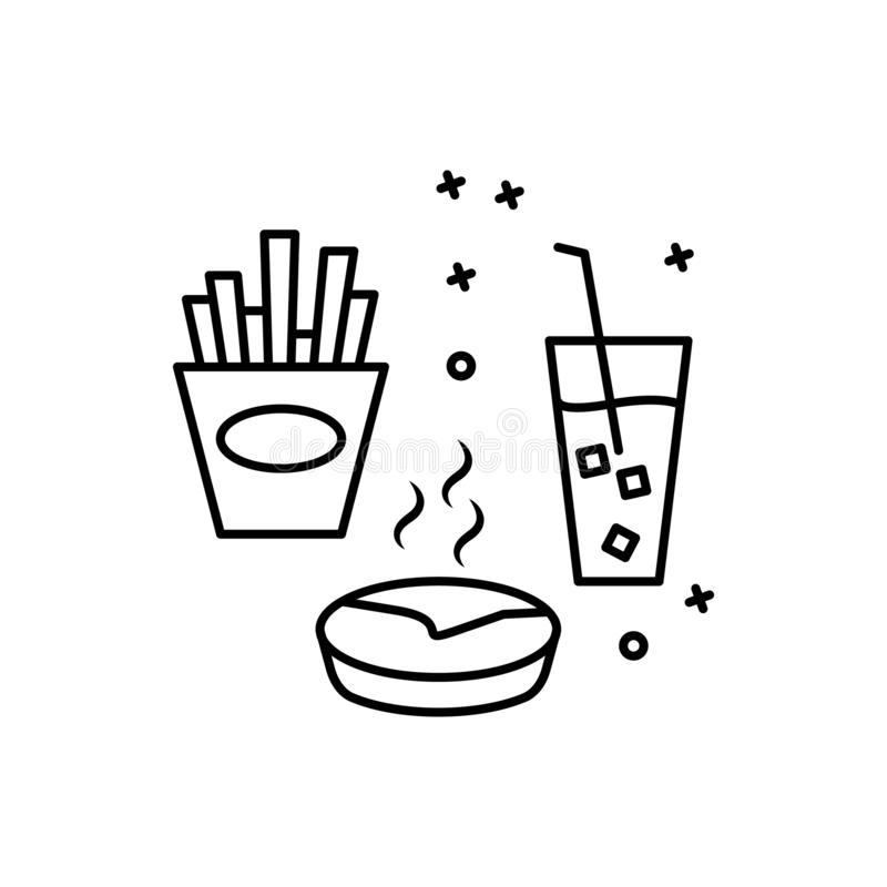 Пить значок повара бесплатной еды Элемент значка тонкой линии партии барбекю иллюстрация штока